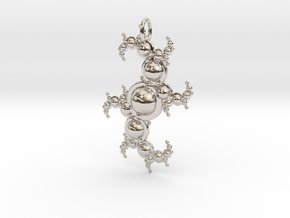 Fractal pendant with spheres in Rhodium Plated Brass