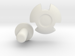 KRCNC2 Clover Button and back plate in White Natural Versatile Plastic