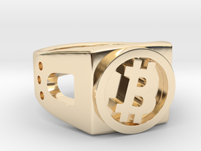 Bitcoin Ring in 14K Yellow Gold: 8 / 56.75