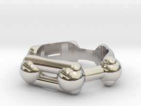 Benzene Ring Molecule Ring 3D in Rhodium Plated Brass: 6.5 / 52.75