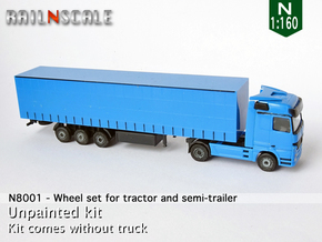 Wheel set for tractor and semi-trailer (N 1:160) in Smoothest Fine Detail Plastic