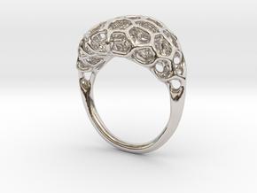 Ring Voronoi Volume II in Rhodium Plated Brass