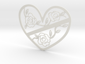Heart with Roses in White Natural Versatile Plastic