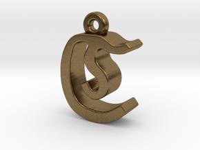 C2 - Pendant - 3mm thk. in Natural Bronze