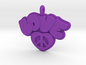 37 - LOVE HEART-PRETZEL in Purple Processed Versatile Plastic: Small
