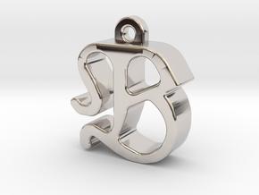 B2 - Pendant 3mm thk. in Rhodium Plated Brass