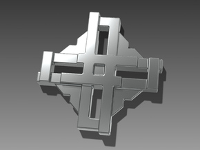 Digital Cross Amulet in Polished Nickel Steel