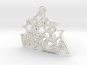 MAGA & Stars Pendant in White Natural Versatile Plastic