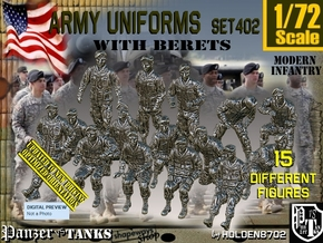1/72 Modern Uniforms Berets Set402 in Smooth Fine Detail Plastic