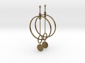 Interlinked Rings Earrings in Natural Bronze (Interlocking Parts)
