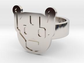 Killbot Ring in Rhodium Plated Brass: 8 / 56.75