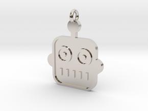 Robot Pendant in Rhodium Plated Brass