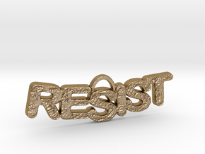 RESIST Texture Small Pendant in Polished Gold Steel