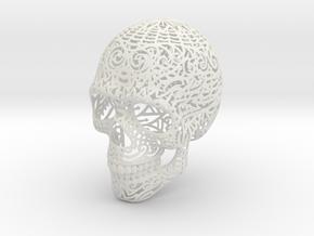Skull Wireframe V1 12 CM in White Natural Versatile Plastic