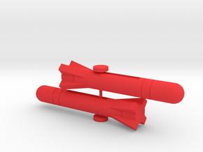 Starcom F-1400 Starwolf Missiles Type #1 in Red Processed Versatile Plastic