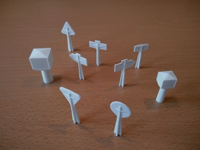 1/60 French town sign / panneaux signalisation in White Natural Versatile Plastic