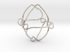 Octahedral knot (Circle) in Rhodium Plated Brass: Small