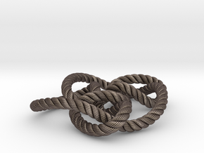 Knot 8₁₅ (Rope with detail) in Polished Bronzed Silver Steel: Large