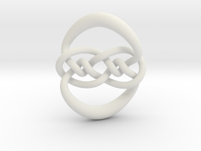Knot 10₁₂₀ (Circle) in White Natural Versatile Plastic: Extra Small