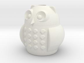 Owl Pencil Cup in White Natural Versatile Plastic