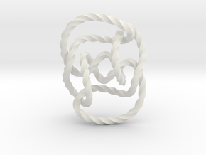 Knot 10₁₄₄ (Twisted square) in White Natural Versatile Plastic: Extra Small