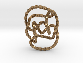 Knot 10₁₄₄ (Twisted square) in Natural Brass: Extra Small