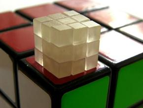 Mini 12mm 3x3x3 Cube in Smooth Fine Detail Plastic