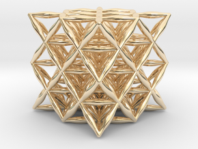 Flower Of Life 64 Tetrahedron Grid in 14k Gold Plated Brass