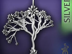 'Blossom tree' a fractal pendant 4.5cm in Polished Silver