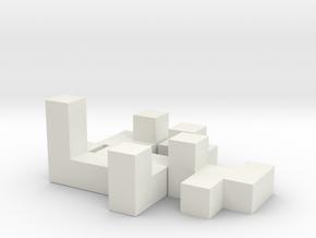 3x3 Puzzle Cube 5 Pieces in White Natural Versatile Plastic