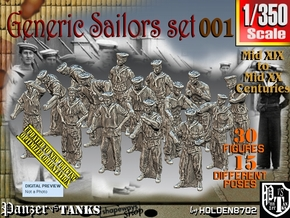 1/350 Generic Sailors Set001 in Smoothest Fine Detail Plastic