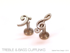 Treble and Bass Clef Cufflinks in Polished Bronzed Silver Steel