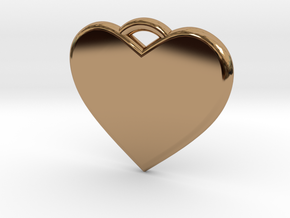 Text Engravable Heart Pendant 3 - Single Line in Polished Brass