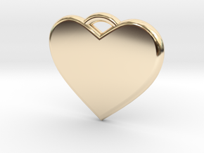 Text Engravable Heart Pendant 3 - Single Line in 14K Yellow Gold