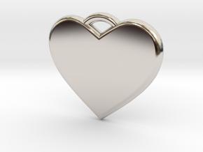 Text Engravable Heart Pendant 3 - Single Line in Platinum