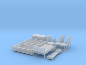 1/56th scale furnitures (15 pieces) in Smooth Fine Detail Plastic