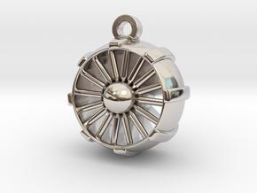 JetEngine Pendant in Rhodium Plated Brass: Small