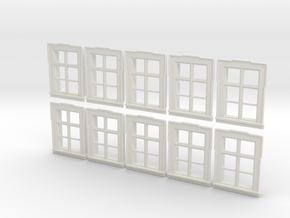 1/72nd scale buildabe windows (10 pieces) in White Natural Versatile Plastic
