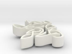 Celtic Unicorn Head Pendant in White Natural Versatile Plastic
