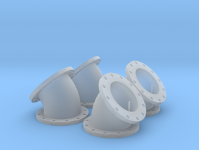 14mm Diameter 45 degree elbows - 4 pack in Smooth Fine Detail Plastic