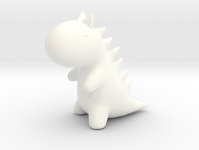 Little Plastic Dino in White Strong & Flexible Polished