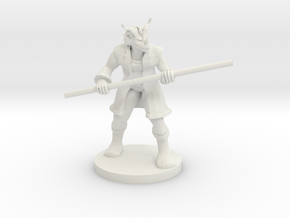 Red Dragonborn Male Monk with Staff in White Natural Versatile Plastic