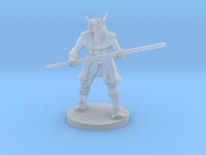 Red Dragonborn Male Monk with Staff in Smooth Fine Detail Plastic
