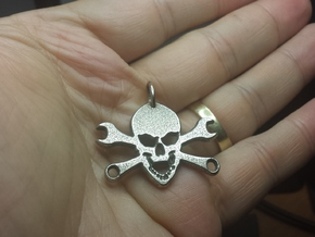 Skull and cross toolkeys Pendant in Polished Bronzed Silver Steel