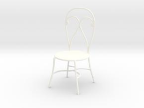 Dollhouse Miniature Chair 'Finer Fare' in White Processed Versatile Plastic: 1:12