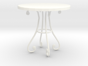 'Finer Fare' Table 1:12 Dollhouse in White Strong & Flexible Polished