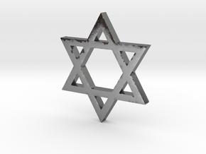 Jewish Star (Hexagram) in Polished Silver