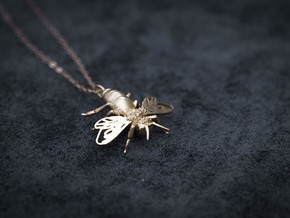 Bee Pendant in Raw Brass