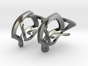 Twisted squares earrings in Interlocking Polished Silver