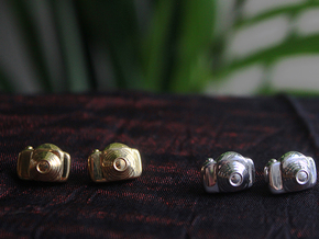 Camera Earrings in Polished Silver